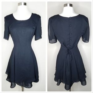 Vintage little black dress short sleeve buttons